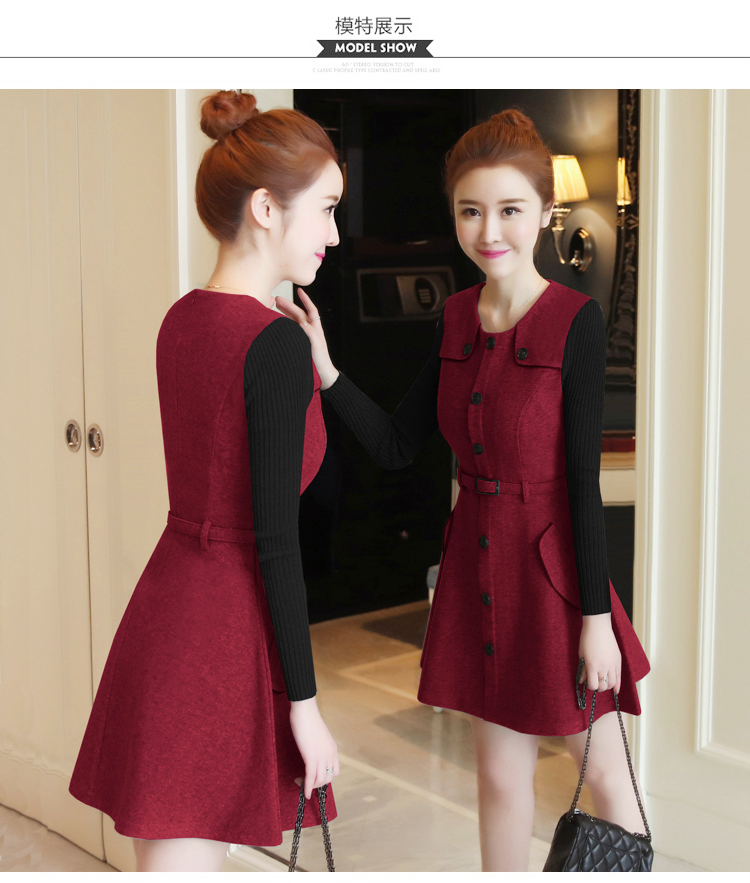 winter new round collar single-breasted cloth dress belt buttons A word women dresses Korean fashion outfit lady vogue vestido 13