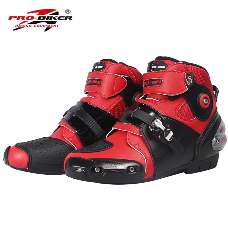 цена на Motorcycle Boots Shoes Short Motocross Botas Moto Motoqueiro Motocicleta A90031 Botte Botas Para Moto Men Shoes White Black Red