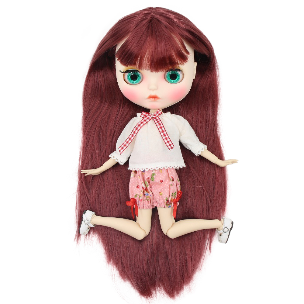factory blyth doll 1 6 bjd white skin joint body straight hair new matte face Carved