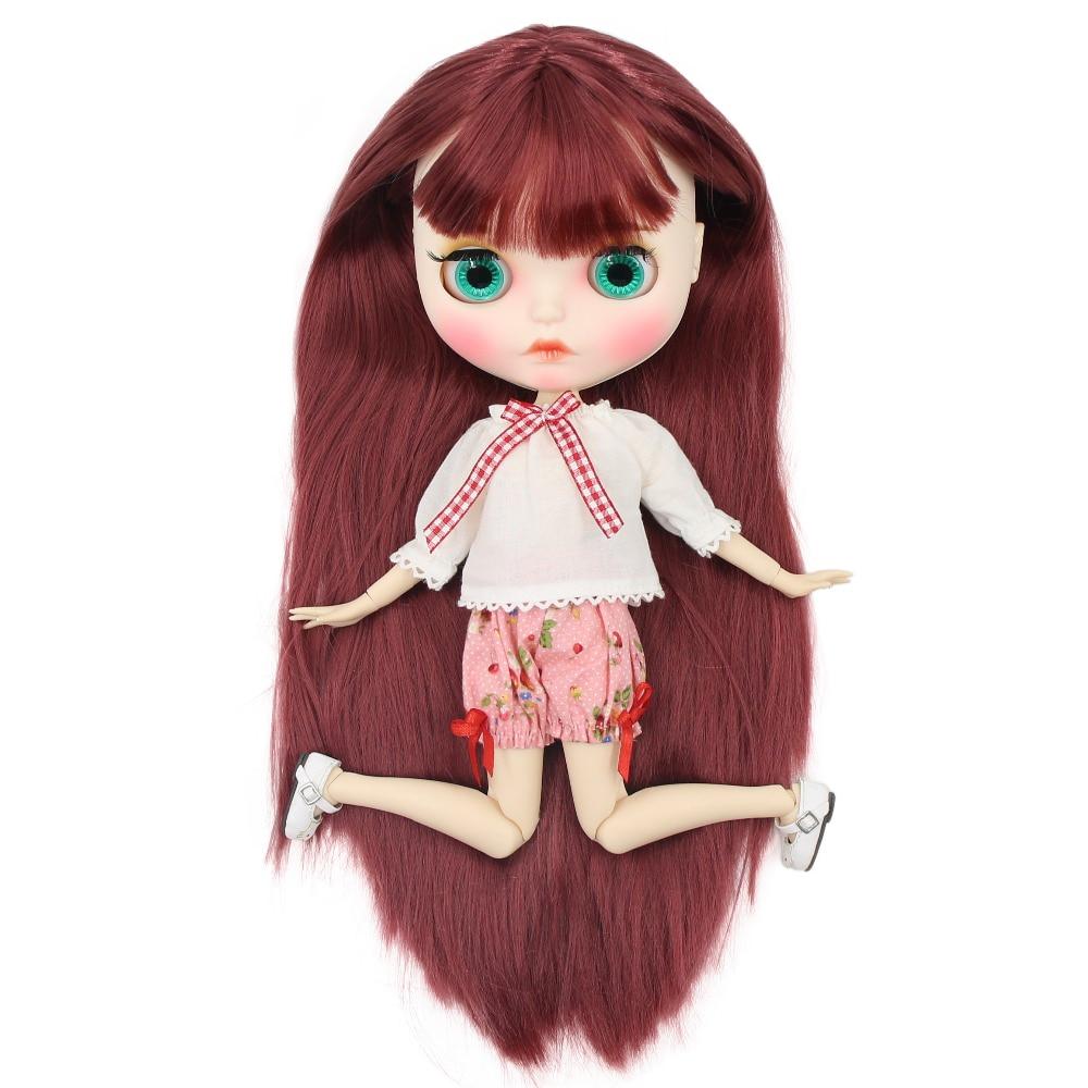 Oyuncaklar ve Hobi Ürünleri'ten Bebekler'de Fabrika blyth doll 1/6 bjd beyaz cilt ortak vücut düz saç yeni mat yüz Oyma dudaklar kaş, özelleştirilmiş yüz, 30cm BL12532'da  Grup 1