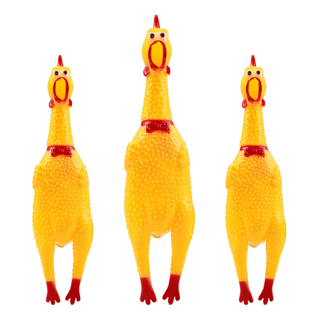 petcircle funny Dog Toys Rooster Crows Attract Puppy Dog and Cat Pet Squeak Toys Screaming Rubber Chicken size S-L freeshipping