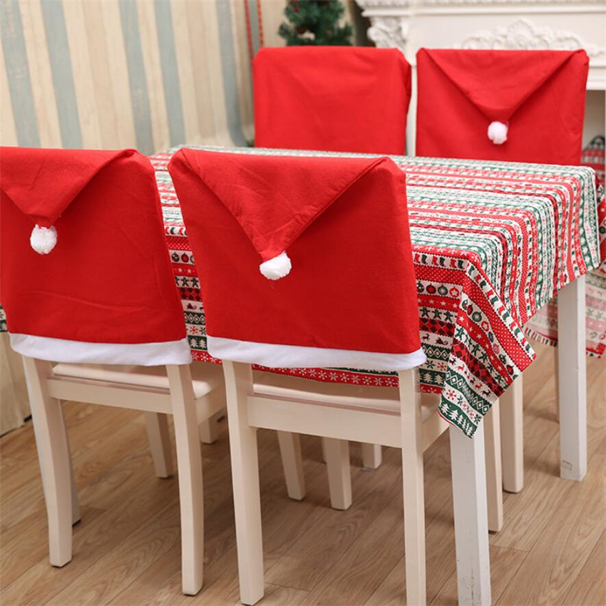 Chair Covers New Year Barrel Table And Chairs Santa Red Hat Christmas Decorations Dinner Xmas Cap Backrest Decor Coating Home Decoration