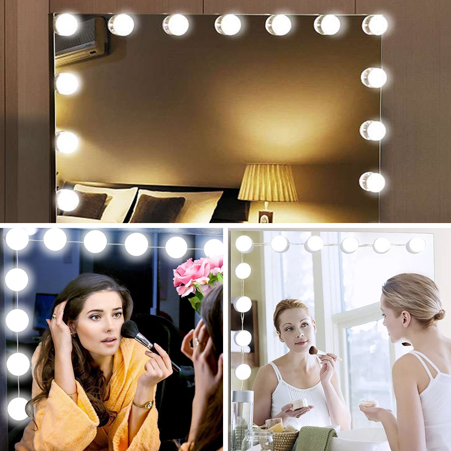 Dimbare DC 5V USB Powered Hollywood Spiegel Lamp met Touch Dimmer 2 6 10 14 Led-lampen Vanity licht Makeup Lamp Wit