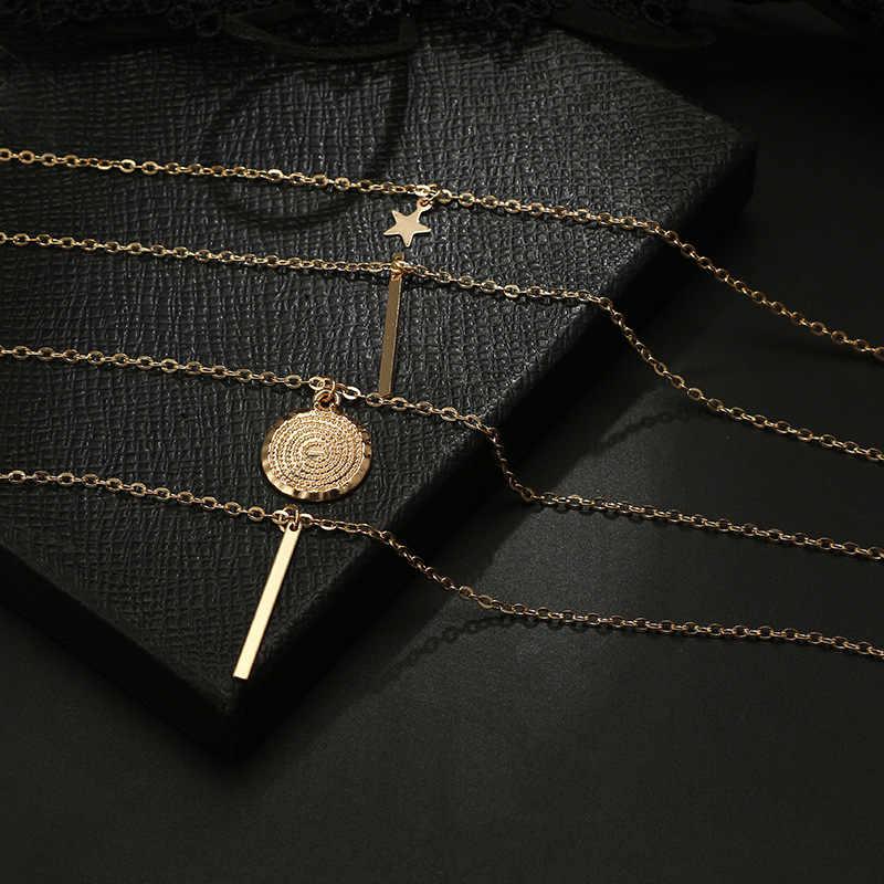 新ヴィンテージ自由奔放に生きる多層ペンダント女性ゴールドスターホーン金属ネックレス部族シルバーネックレスの襟