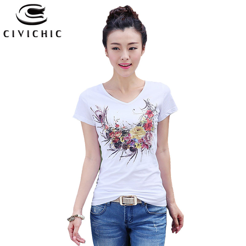 CIVI CHIC Floral Print Women T-shirt Handmade Diamonds Tops Chinese Ethnic Style
