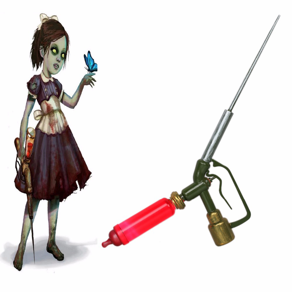 Hot Sale BioShock ADAM Little Sister Syringe Game Cosplay Props Retractable Needle Injector Cosplay Tool Accessories Red Resin