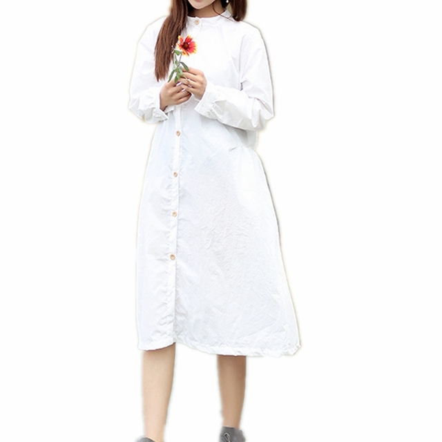 246b8b4950c Mori Girl Long Sleeve Shirt Dress 100% Cotton Stand Collar Button Down Midi  Dress Plus Size Long White Dress With Pockets