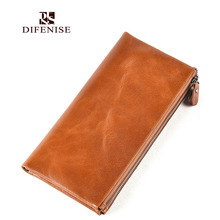 Difenise Design The First layer cowhide Long Women Wallets Lady Vintage Purse Retro Bag Clutch Famous Fashion Female Wallets
