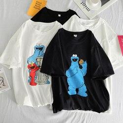 Летние женские футболки с забавным мультяшным принтом, простые универсальные Свободные Черно-белые футболки Harajuku для отдыха, корейские баз...