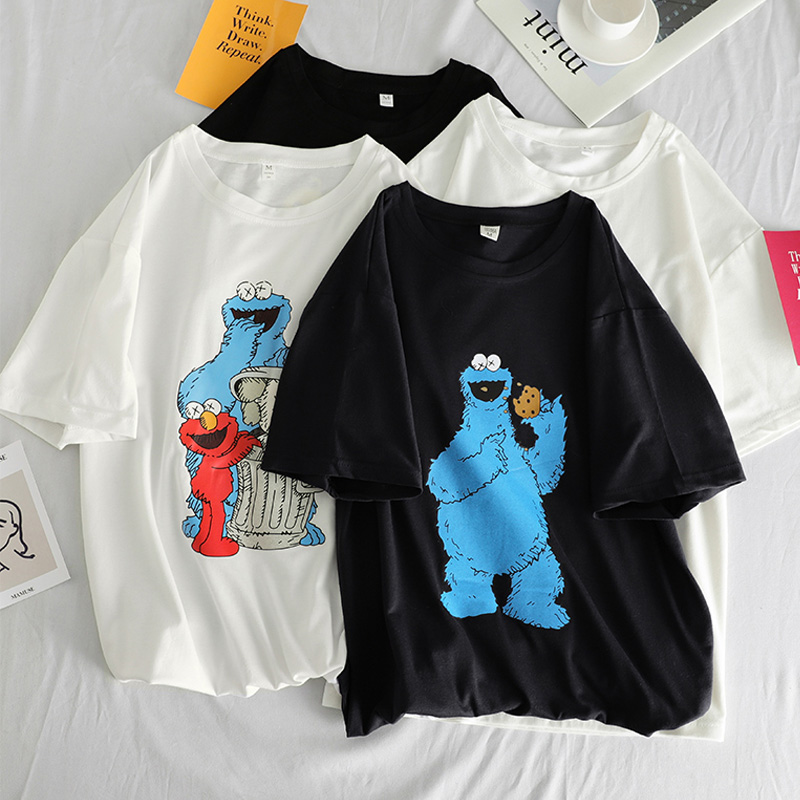 Summer Women Funny Cartoon Print T-shirts Simple All-match Harajuku Leisure Loose Black White T Shirt Korean Ulzzang Basic Tops