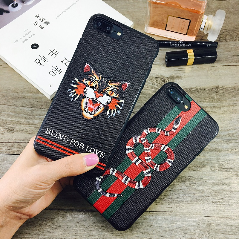 Fashion Emboss Snake Cat Candy TPU Case For iphone 6 6s 6plus 7 7plus 8 8plus