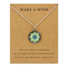 Mandala Mandela Yoga OM Symbol Buddhism Pendants Necklaces 18mm Glass Cabochon Women Men Girl Unisex Jewelry Party Birthday Gift