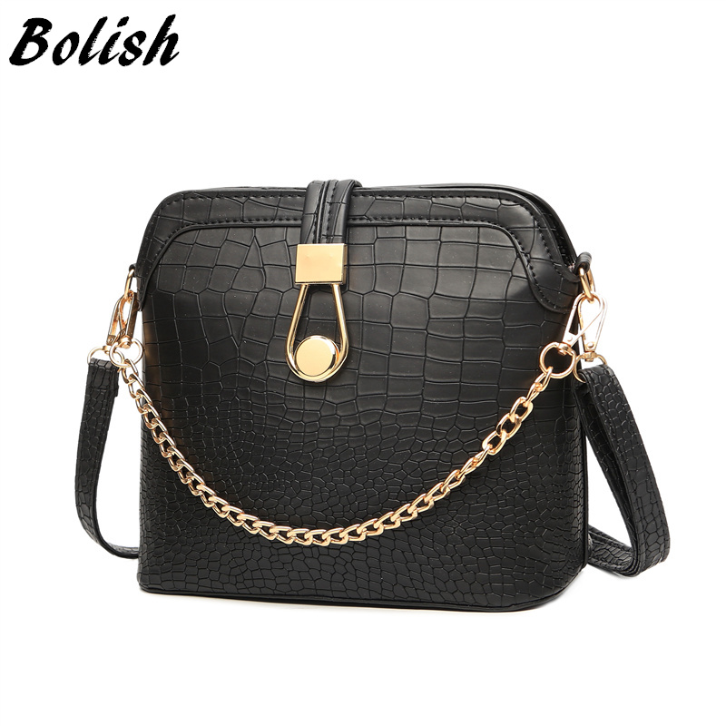 Bolish Vintage Crocodile PU Leather Women Bag Chain Strap Top-handle Bags Fashion Lock Crossbody Bag Small Shoulder Bag