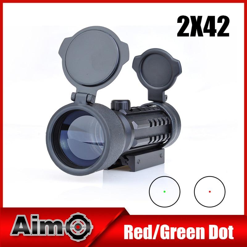 Aim O Red Green Dot Hunting Rifle Optics Scope 2x42 11mm or 20mm Weaver Mount Rail