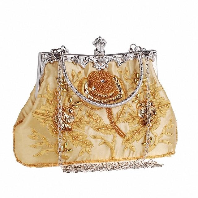 2016 Nova Moda de Cetim Sacos de Noite de Embreagem de Cristal Mulheres Charme Bolsa Bordado Acessórios Vestido de Festa de casamento bag LI-1527