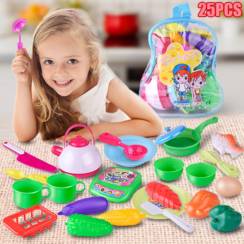 Childrens simulation over the family 25 sets of backpack cutlery baby puzzle kitchen cutlery cooking toys Christmas gifts