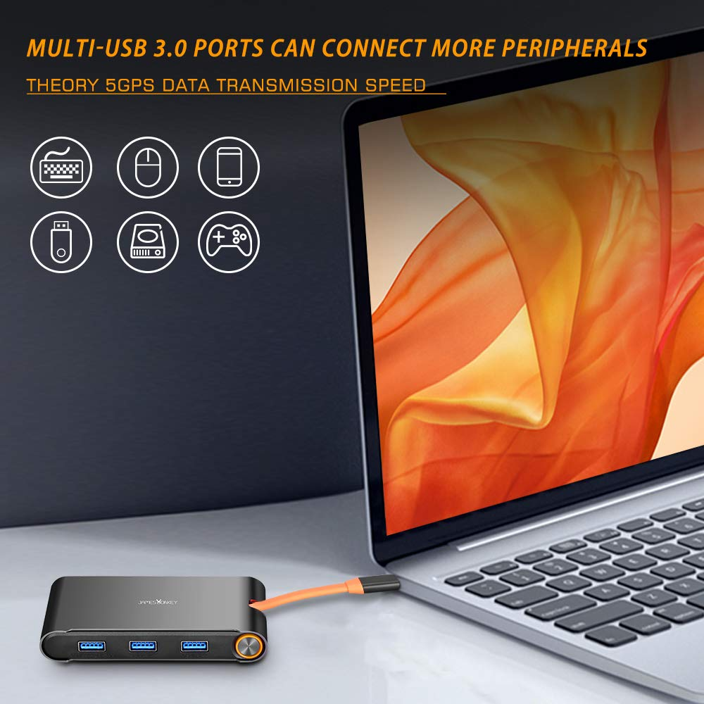 James burro 7 en 1 USB C Thunderbolt 3 Hub portátil Universal Docking Station con HDMI/VGA y gigabit Ethernet para Apple - 5