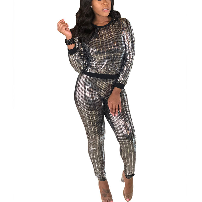 fashion sequined sexy 2 two piece set women clothes 2018 o neck long sleeve top and bodycon pant autumn outfits casual tracksuit