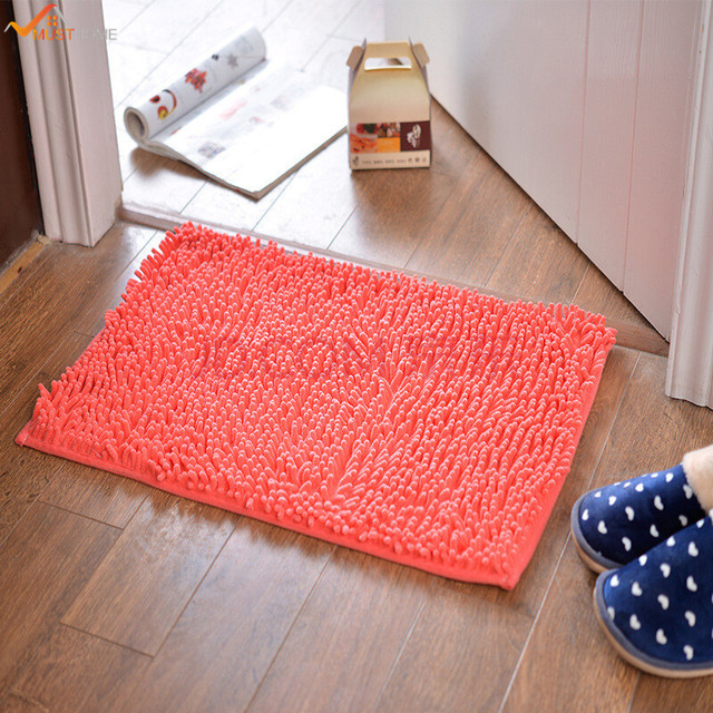 40 60cm Non Slip Microfiber Shag Bath Mat Bathroom Mats Super Soft Chenille Fabric