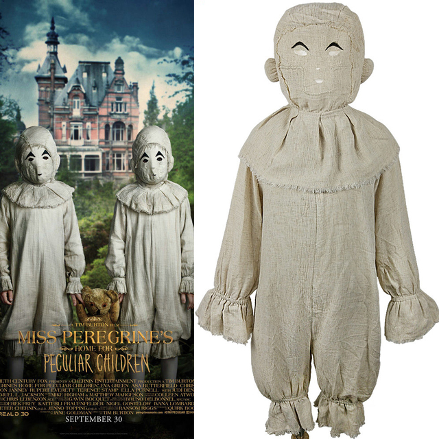 miss peregrines home for peculiar children costume cosplay strange twins scary coverall halloween custome for kids