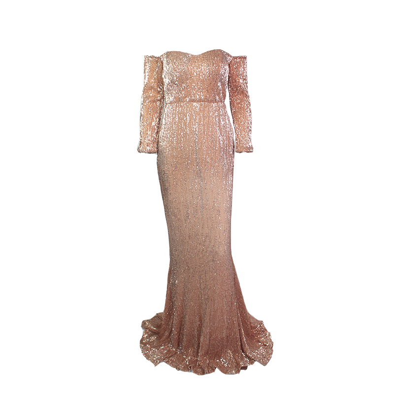Navy Sequined Evening Maxi Dresses Floor Length Party Dresses Sexy Slash Neck Off The Shoulder Gown Sequin Dress Gown