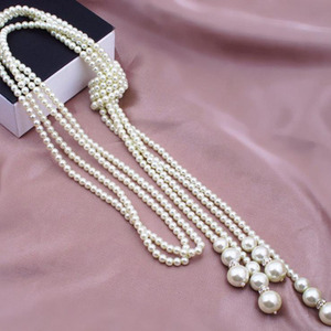1pc Multilayer Imitation Pearl Bead Necklace Long Knotted Sweater Necklaces for Women Fashion Jewelry