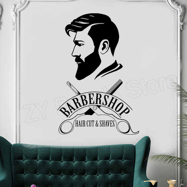 Barbershop Logo Wall Decal Mural Barber Shop Sign Sticker Window