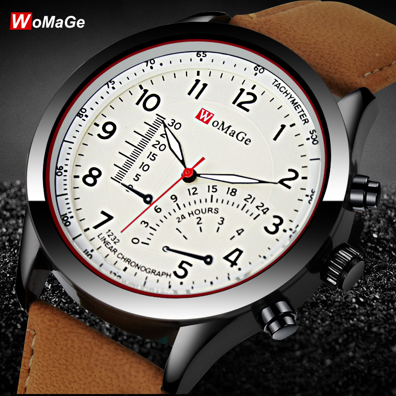 Newest Womage Watch Men's Quartz hot sale watches PU Leather Casual Sports Military Masculion Fashion Relojes male wristwatch