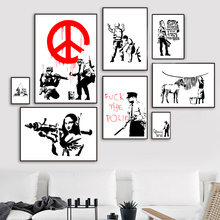 Banksy Graffiti Funny Queen Pulp Fiction Nordic Posters And Prints Wall Art Canvas Painting Pictures For Living Room Decor