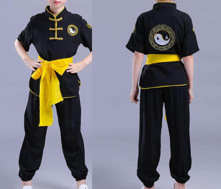 unisex cotton kids short sleeve embroidery kung fu uniforms tai chi suits children martial arts wushu