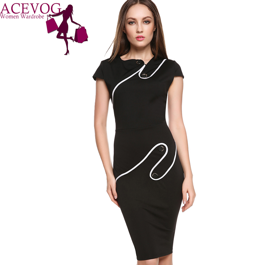 ACEVOG Brand Official Store ACEVOG Brand Women Vintage Pinup Rockabilly Elegant Wear To Work Business Casual Tunic Bodycon Sheath Pencil Dress