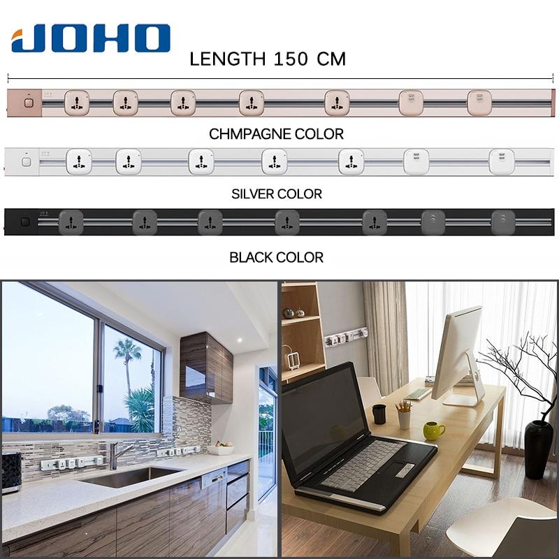 JOHO mode chaude 150cm 4000W Usb prise murale Tomada ue prise murale 2 Ports USB prise de cuisine prises pour bureau salon