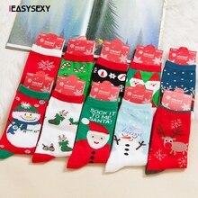 iEASYSEXY Floor Bed Socks Women's Snowflake Deer Printed Casual Cotton Socks Ladies Female Men Christmas Gift Hosiery Dropship