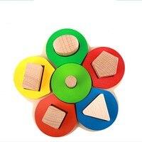 Nuovi Bambini Puzzle Giocattoli Triage Piatto Floreale Forma Geometrica di Bambino Nidificazione Stacker Bambino Giocattoli In Legno per Bambini