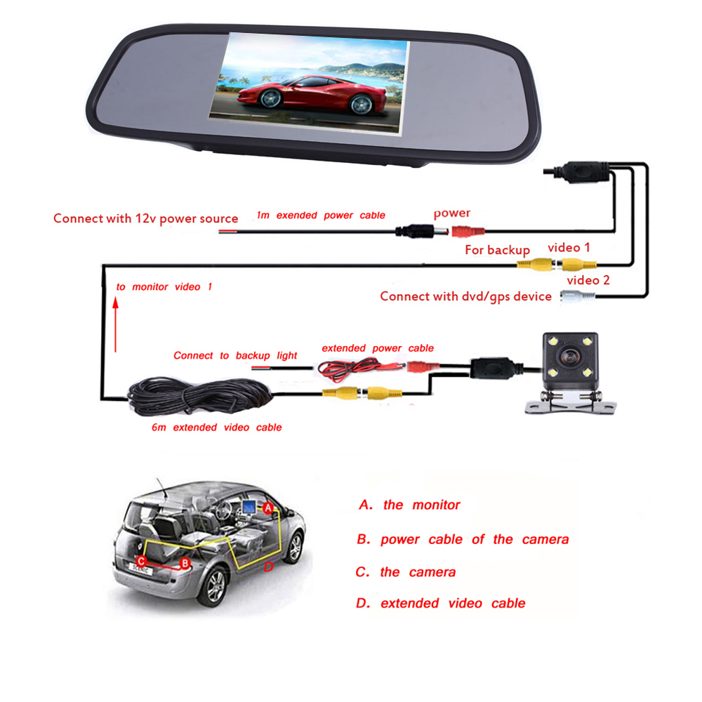 Image 4 - AMPrime 4.3 inch Car HD Rearview Mirror Monitor CCD Video Auto Parking Assistance LED Night Vision Reversing Rear View Camera-in Car Monitors from Automobiles & Motorcycles