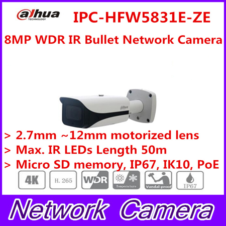 Dahua 2017 New Arriving cameras 8MP WDR IR Bullet Network Camera IPC-HFW5831E-ZE free DHL shipping original dahua ipc hdw5831r ze 2017 new arriving cameras 8mp wdr ir eyeball network camera ipc hdw5831r ze free dhl shipping