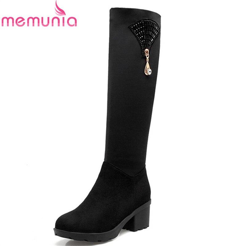 MEMUNIA winter new arrive women boots black bling zipper flock knee high boots round toe square heel ladies boots 34-43 memunia new arrive hot sale genuine