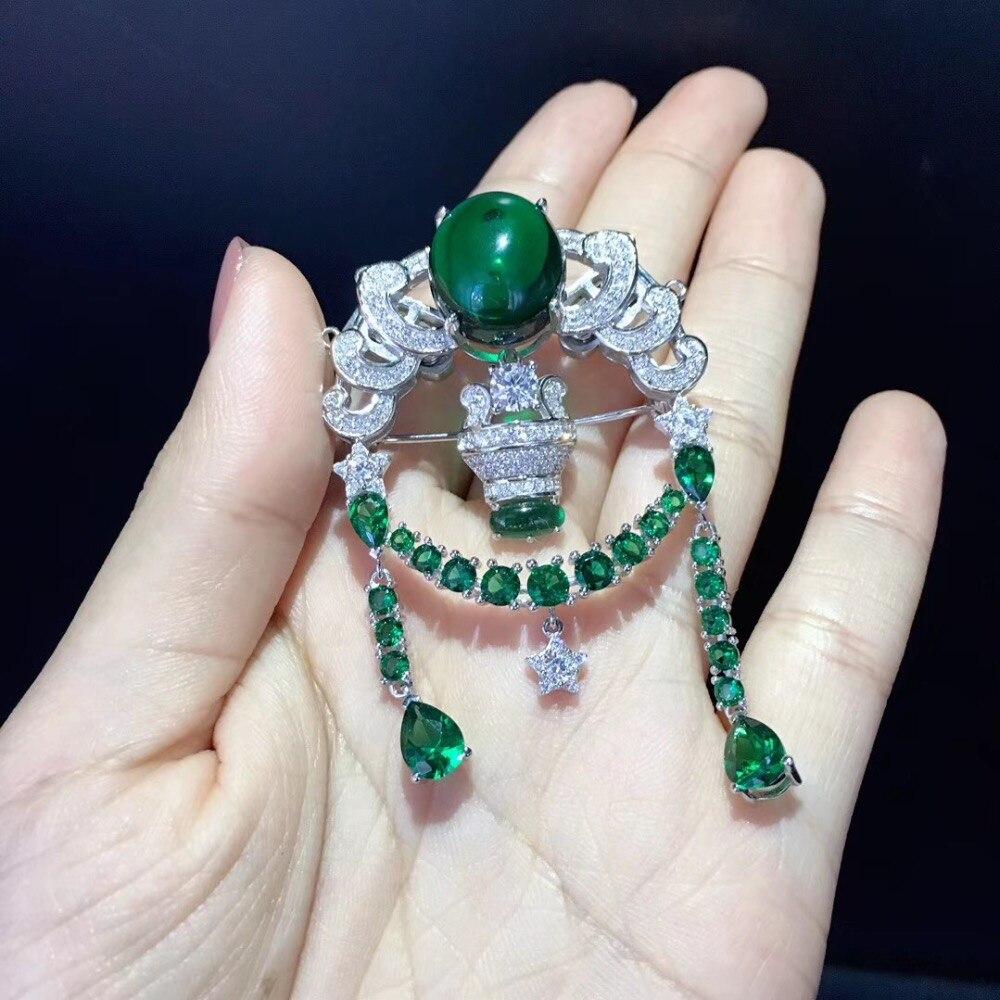 Fermoir bijoux à bricoler soi-même douze constellations fermoir balance et broche double usage 925 argent sterling avec zircon cubique couleur verte - 3