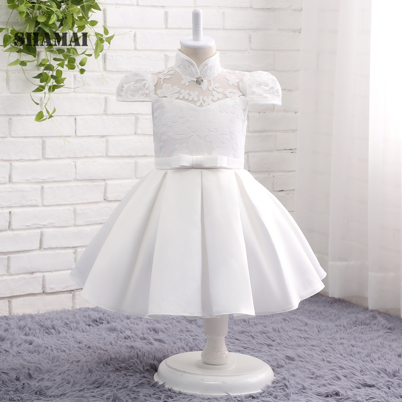 SHAMAI SHAMAI 2019 Satin   Flower     Girl     Dresses   For Weddings Lace Bow Communion Princess   Dress   Pageant Prom Formal Wear