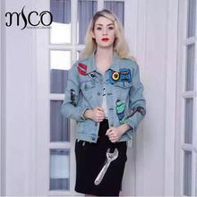 2016 Brand Autumn Women denim Jacket Jean Suit Full button Up Tool design Sequins Embroidery Bomber Coat jaqueta feminina