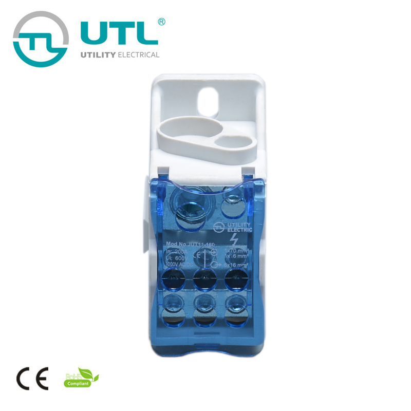 JUT11-160 Power Cable Electric Distribution Terminal Screw Din rail Terminal Blocks Copper Conductor 50pcs uk5 twin uk5rd 4mm2 din rail screw clamp fuse terminal blocks connector