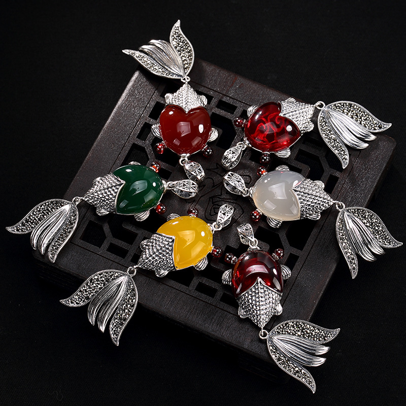 2108 New silver S925 Sterling Silver Antique mosaic jade, agate, pomegranate red, marble stone fish, lady pendant wholesale 2108 new silver s990 silver dollar topaz korean edition hollowed out silver sterling sweater chain lady s pendant wholesale