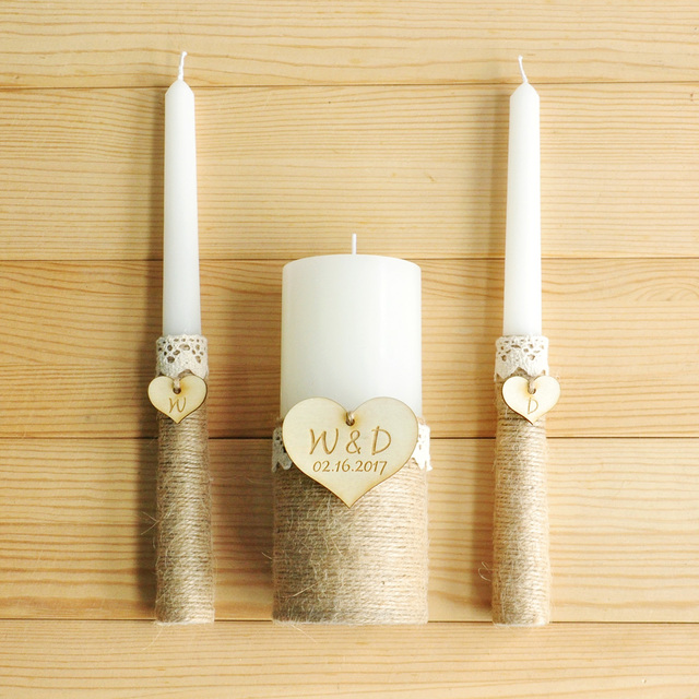 Personalized Unity Wedding Candles Burlap Ceremony Rustic Candle Set Ivory Custom Gift