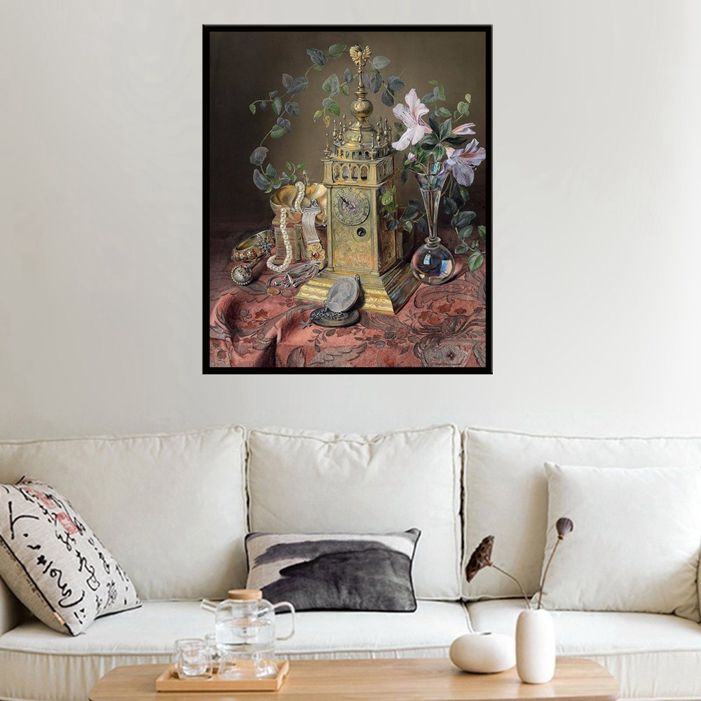 Retro Paintings for Bedroom Wall Art Handpainted HD Print Clock Still Life Flowers on Canvas Home Decorative Dropship