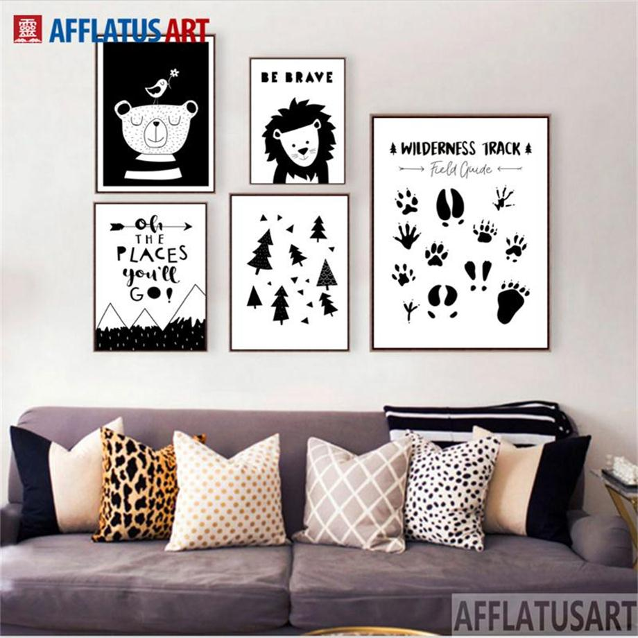AFFLATUS Bear Lion Forest Footprint Nordic Poster Wall Art Print Canvas Painting Black White Pictures For Living Room Decor