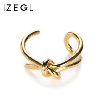 Anillo femenino ZEGL, anillo abierto anudado japonés y coreano, anillo de índice chapado en oro para mujer, joyería simple coreana, joyería de mano ajustable