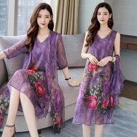 Silk purple dress women summer 2 piece set suits plus size S 3xl 4xl 5xl party dresses with cardigan elegant print floral clothe