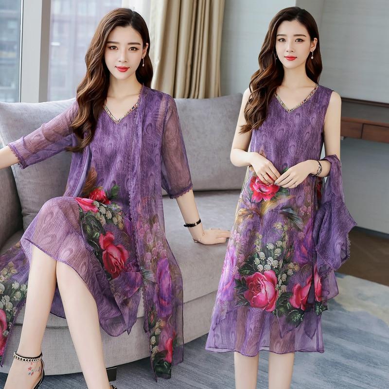Silk purple dress women summer 2 piece set suits plus size S-3xl 4xl 5xl party dresses with cardigan elegant print floral clothe inc new beige leopard print 2 piece set women s size small s henley blouse $79
