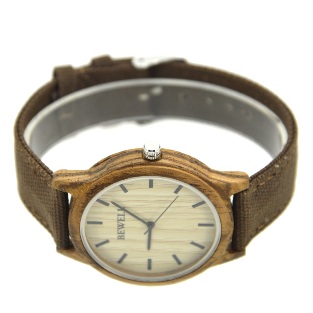 BEWELL Wooden Watches Mens Fashion Simple with Natural-Wood Canvas Japan Student