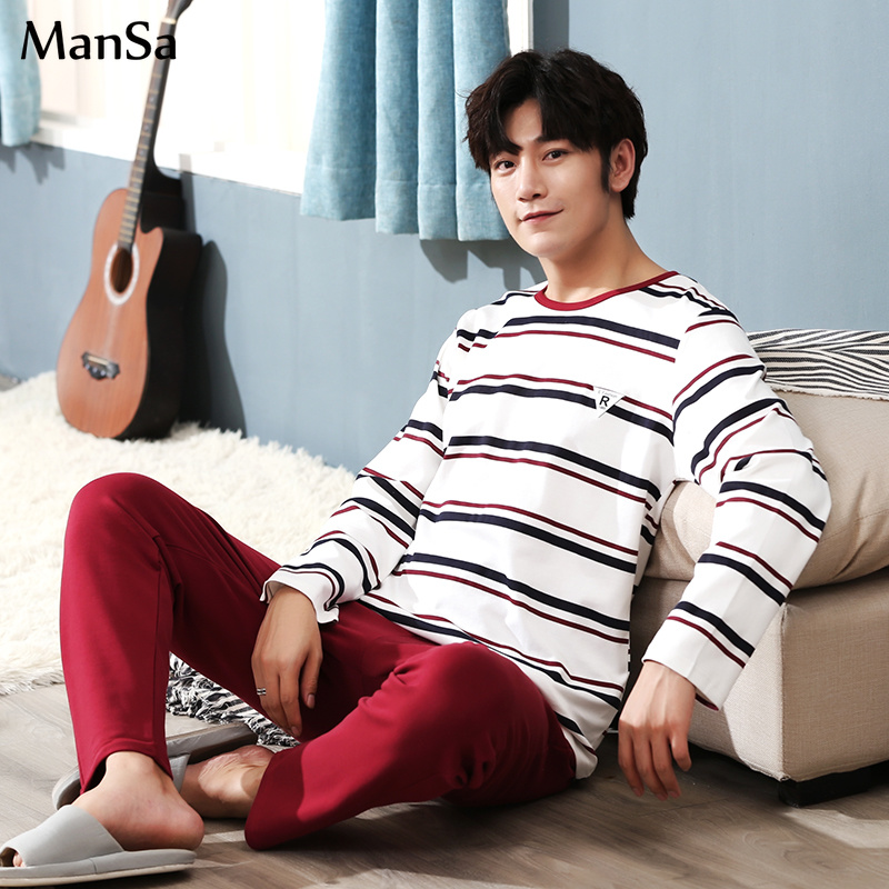 Plus Size 3XL 4XL 5XL Mens Pajama Set 2019 Spring New Long-sleeved Bt21 Pajamas Men Cotton Casual Sleepwear Homewear Men Pyjamas